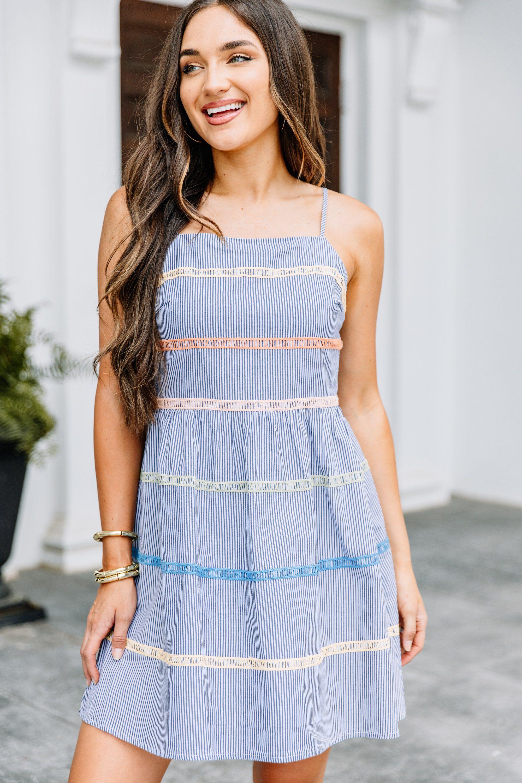 You Need Me Navy Blue Striped Dress Blue Striped Dress Striped Dress Sundress Outfit [ 3000 x 2000 Pixel ]