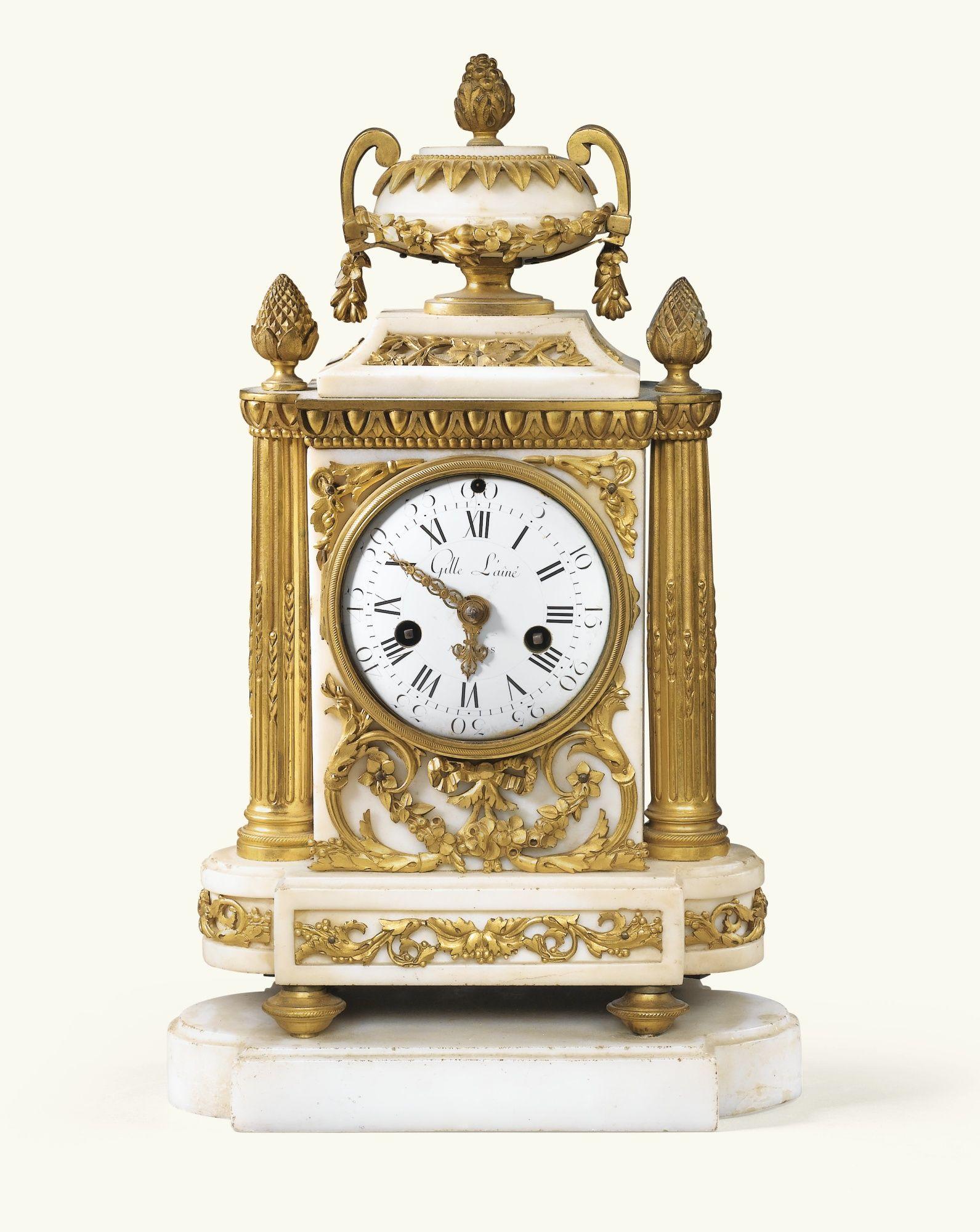 Pendule Borne En Marbre Blanc Et Bronze Dore D Epoque Louis Xvi Le Cadran Signe Em Gille L Ai Antique Wall Clocks Antique Pendulum Wall Clock Antique Clocks