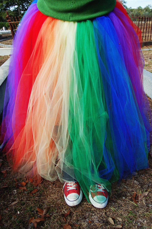 fbddde4ca Plus Size Long Rainbow Tutu Skirt. $90.00, via Etsy.   Clothes ...