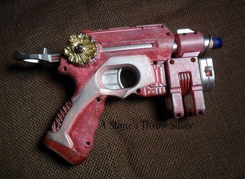 Pink Nightfinder Steampunk Gun with Laser Sight by RandomShinyBits, $35.00
