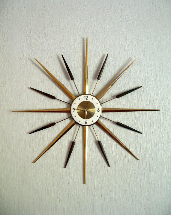 Mid Century Modern Roxhall Starburst Wall Clock By Luola On Etsy Mid Century Modern Clocks Mid Century Modern Wall Clock Mid Century Clock