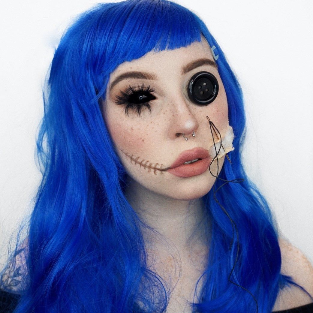 Victoria On Instagram Coraline Throwback To My Coraline Look From Last Halloween This Was One Of My Halloween Makeup Looks Coraline Coraline Makeup