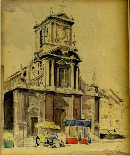 File:1942 L'église de Saint Josse ten Noode aquarelle par Léon van Dievoet juillet 1942.JPG