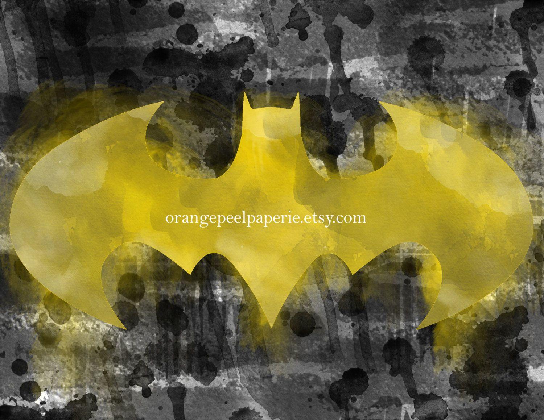 Batman Logo Print, Batman Art, Watercolor Bat Symbol, Watercolor ...