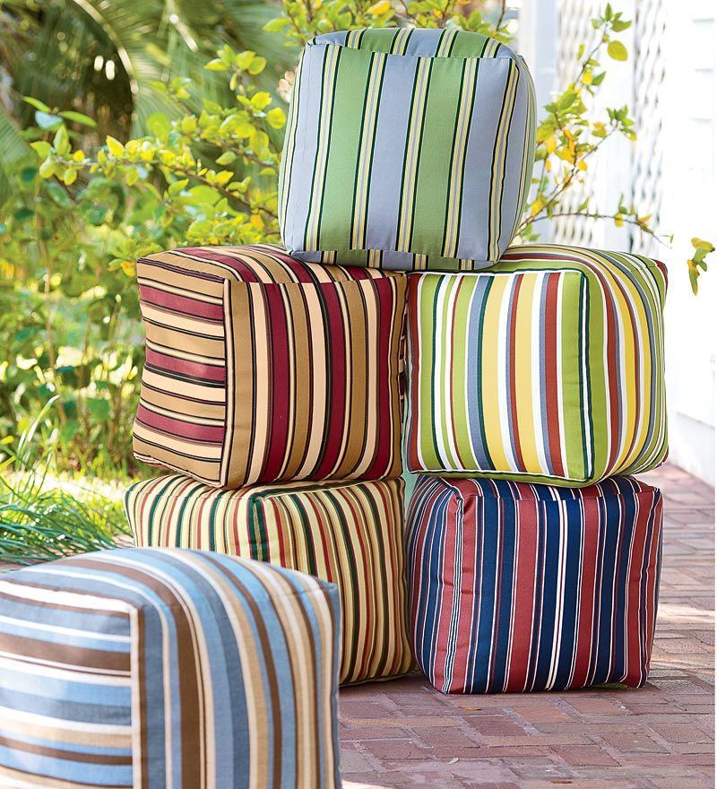 Colorful Outdoor Ottoman Cubes With Eco Friendly Recycled Polyfill