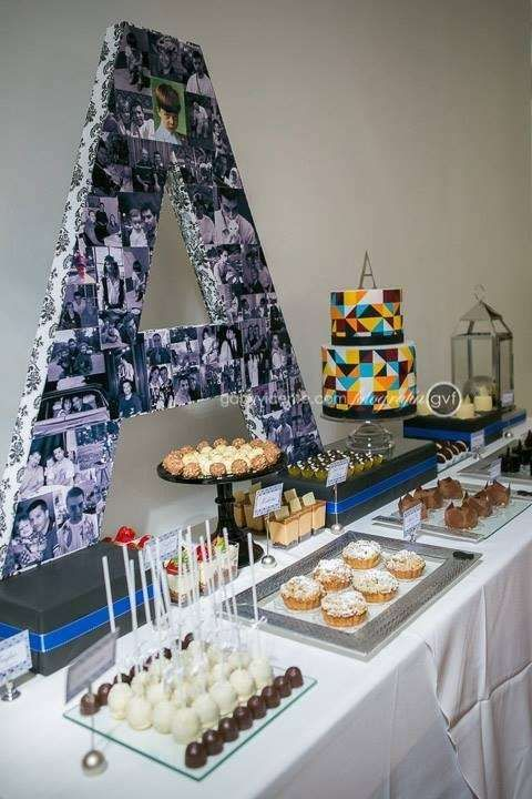 50's Birthday; blue, black and silver party, adult party, men´s party, for him Birthday Party Ideas | Photo 5 of 37 | Catch My Party #50thbirthdaypartydecorations