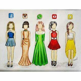 Redes Sociais Desenhos Desenhos De Vestidos Desenhos
