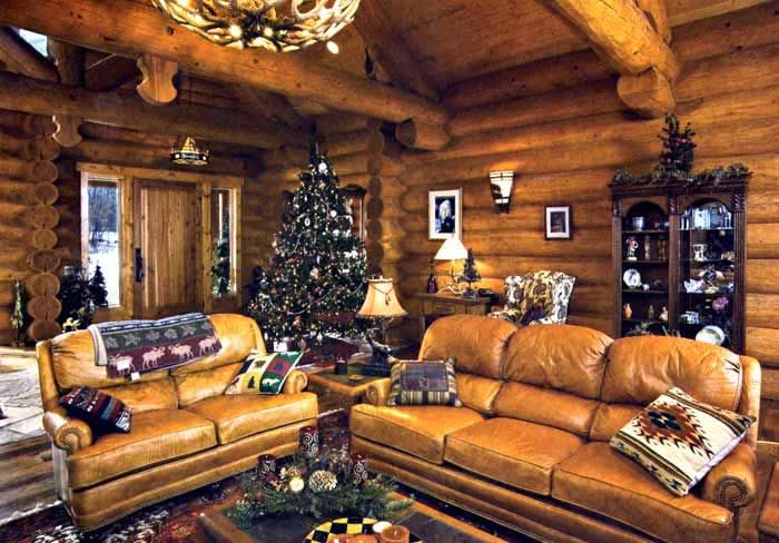 Wooden Living Room With Leather Sofa