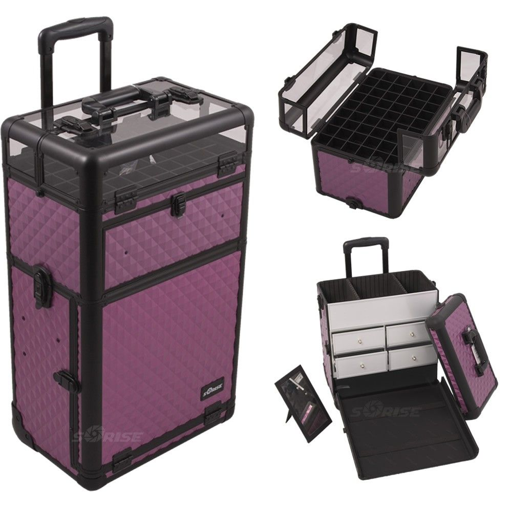Purple Diamond Nail & Makeup Case w/ Drawers - Sunrise ...