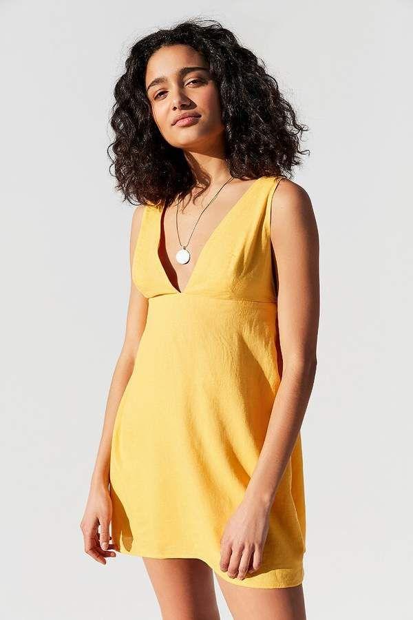 b410b9226d Urban Outfitters Breezy Plunging Linen Mini Dress