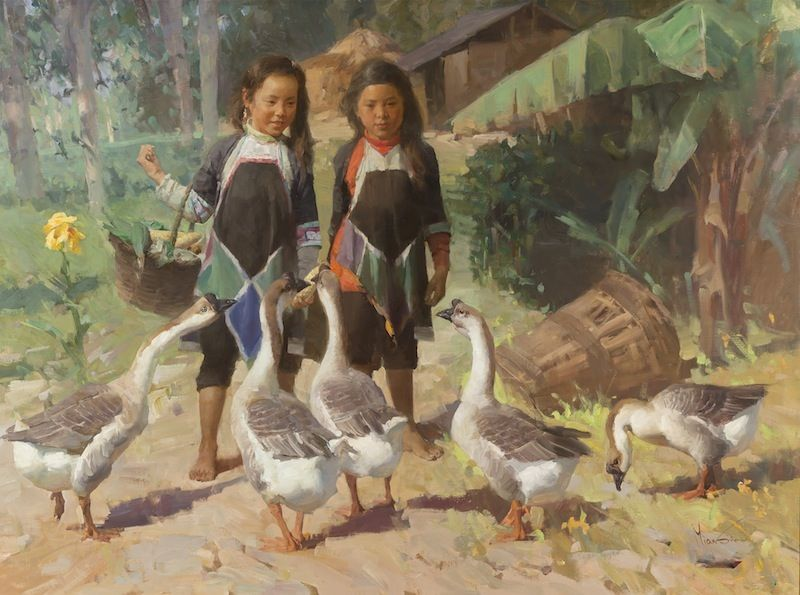 Mian Situ, Sharing the Harvest, oil on canvas, 30 x 40 inches. For more information please contact the gallery at (817) 416 - 2600.