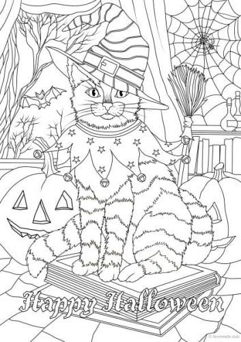 Holidays – Halloween Cat | Coloring Pages | Pinterest | Colorear ...