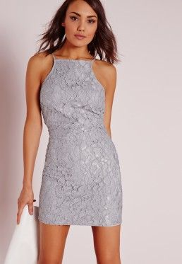 79a27138003 Lace Square Neck Bodycon Dress Grey