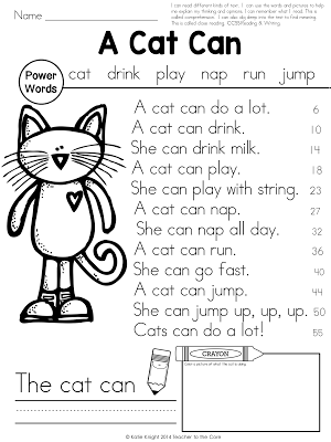 Power Passages {A Cat Can} Fluency, Writing, Art
