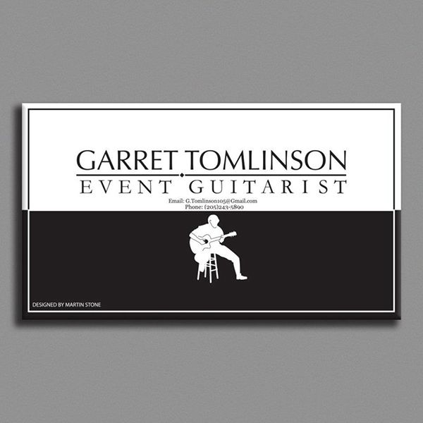 Simple Black And White Guitarist Business Card Sample For