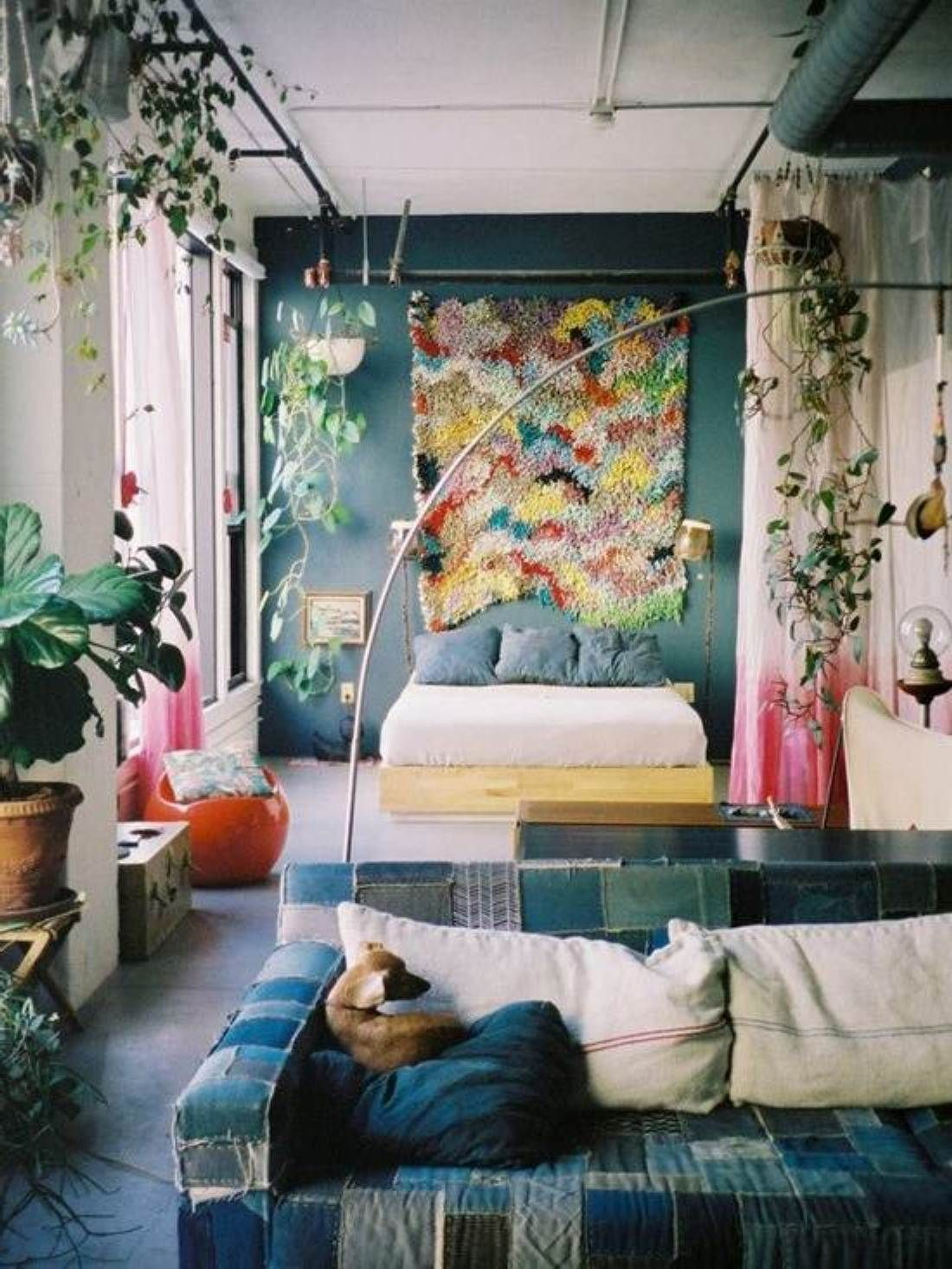 Boho chic bedroom decor: boho chic bedroom decor with hanging ivy plants also  cool fabric sofa design feat orange floor seat