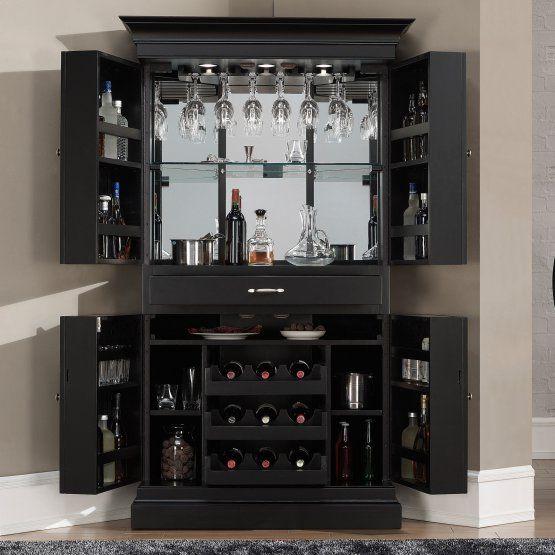 AHB Francesca Corner Bar Cabinet - Black - Home Bars at Hayneedle