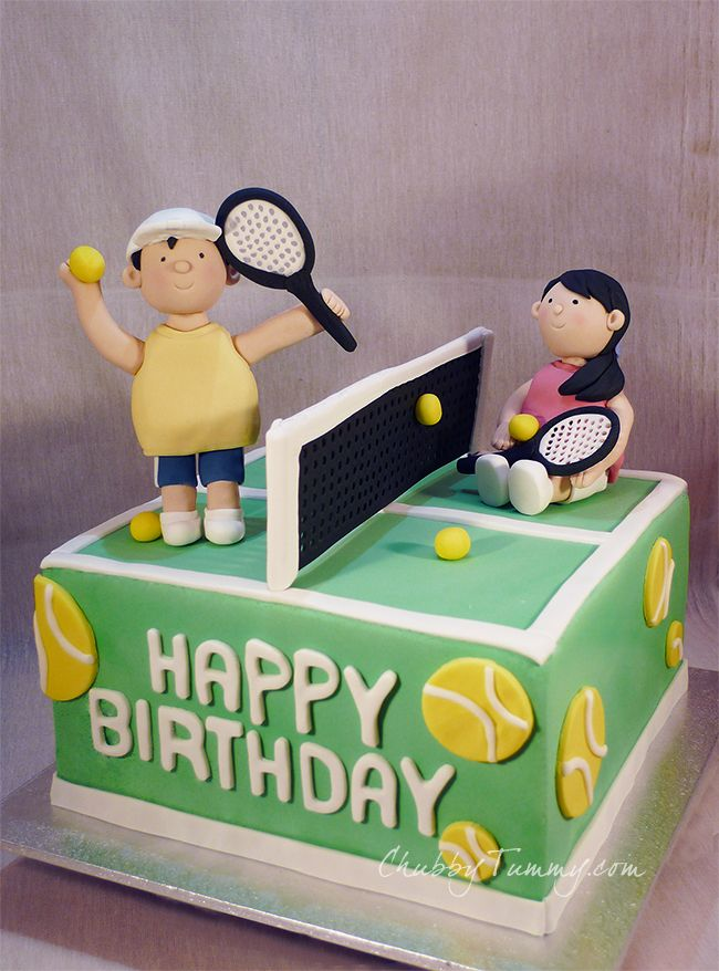 Peachy Tennis Birthday Cake In Fondant This Is A Chocolate Cake With Personalised Birthday Cards Veneteletsinfo