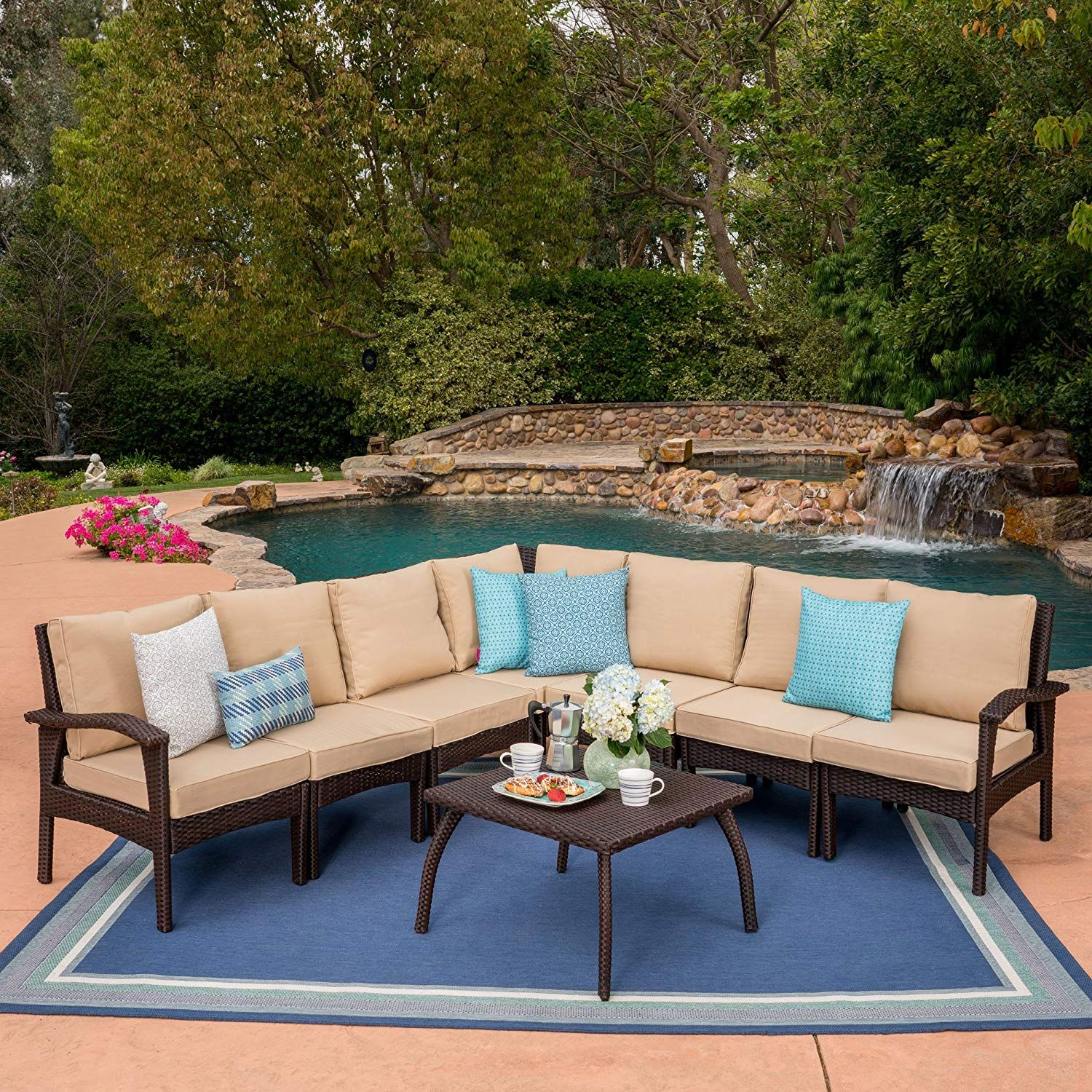 Great Deal Furniture Acuff Outdoor 7 Seater