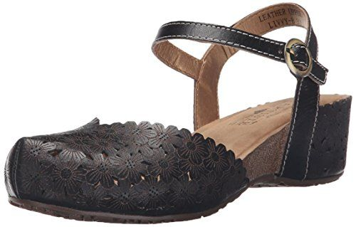 L'Artiste by Spring Step Women's Livvy Flat Sandal: Floral laser cut leather  two-piece mary jane clog