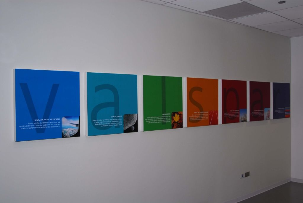Acrylic Wall Frames valspar - company logo and products printed on acrylic box frames