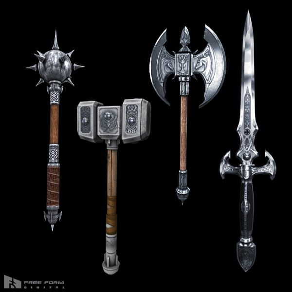 fantasy medieval weapons 3d model   Fantasy & Medieval ...