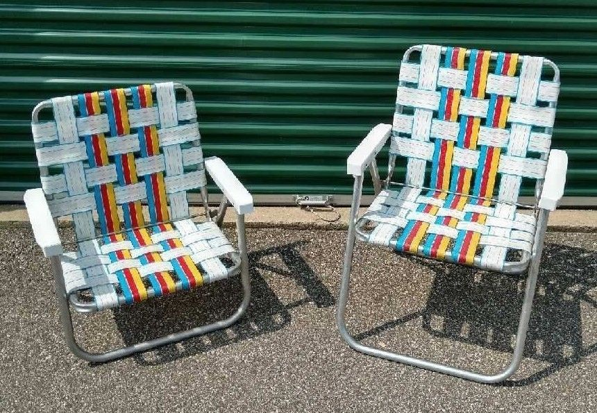 2 Vintage Sun Folding Lawn Chairs Aluminum Tube Webbing Patio Picnic Red Blue Sunterrace With Images Lawn Chairs Picnic Chairs Chair