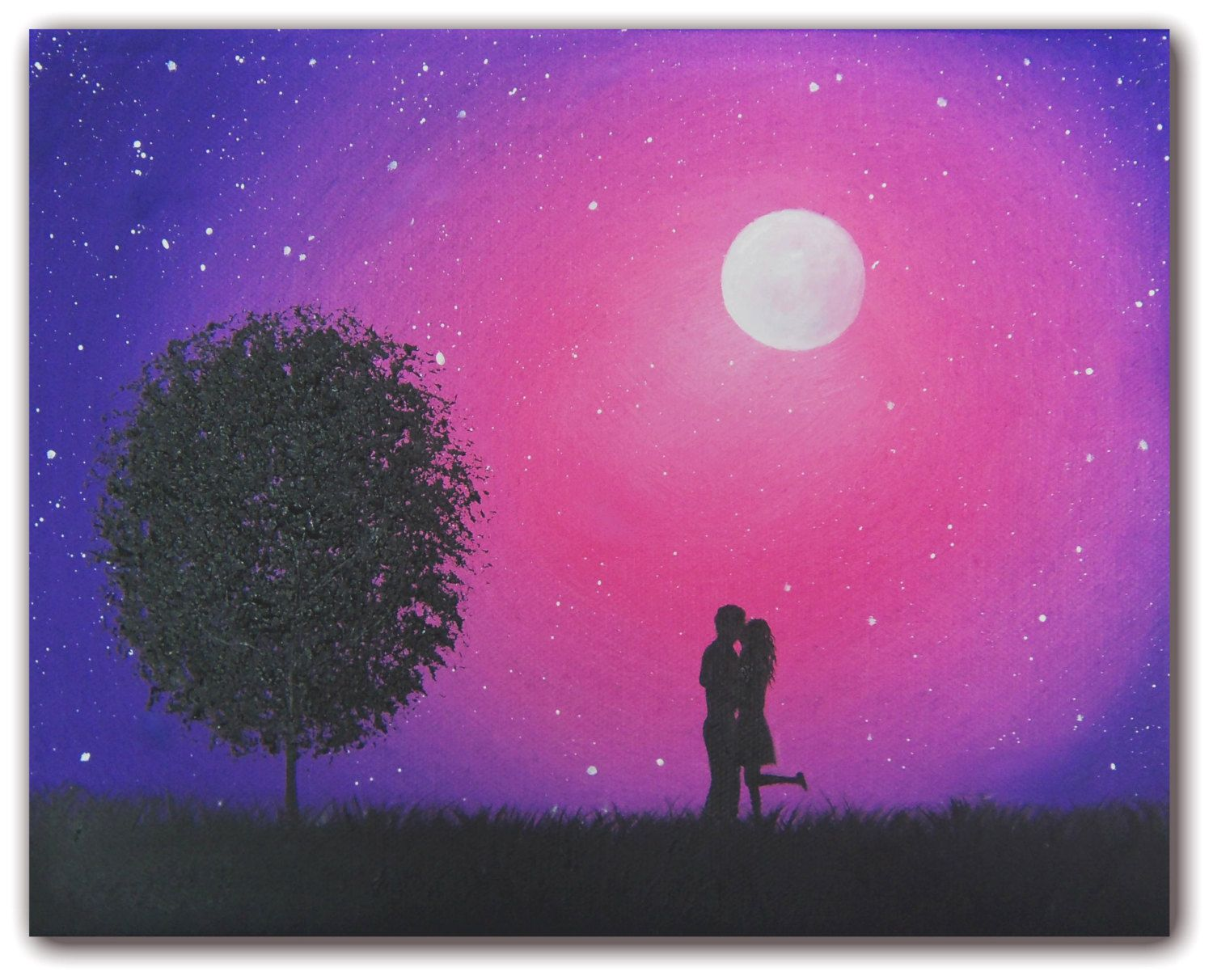 Starry Night Silhouette Art, Love Art Oil Painting, Original Art ... for Silhouette Paintings Of Couples  103wja