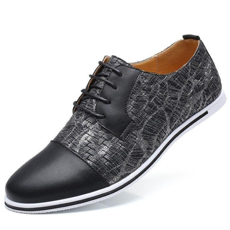 b1578900402d Merkmak Men Leather Casual Shoes 2018 Business Men Shoes Luxury ...