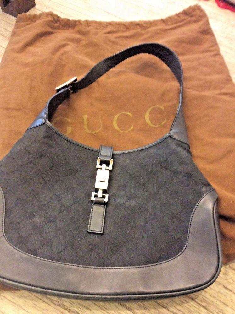 1d84f7acf941 Gucci Authentic Jackie o Black Leather Canvas Shoulder Bag Handbag hobo   Gucci  ShoulderBag