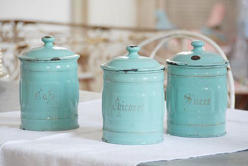 French vintage enamel jars from Decorative Country Living