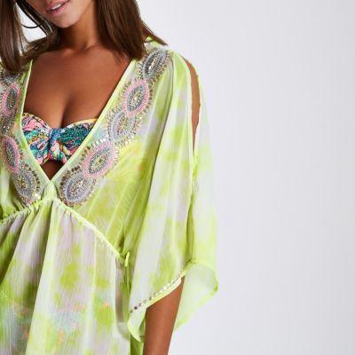 187235b645 Yellow chiffon embellished beach kaftan - Kaftans & Beach Cover-Ups -  Swimwear & Beachwear - women 100% Polyester 713999
