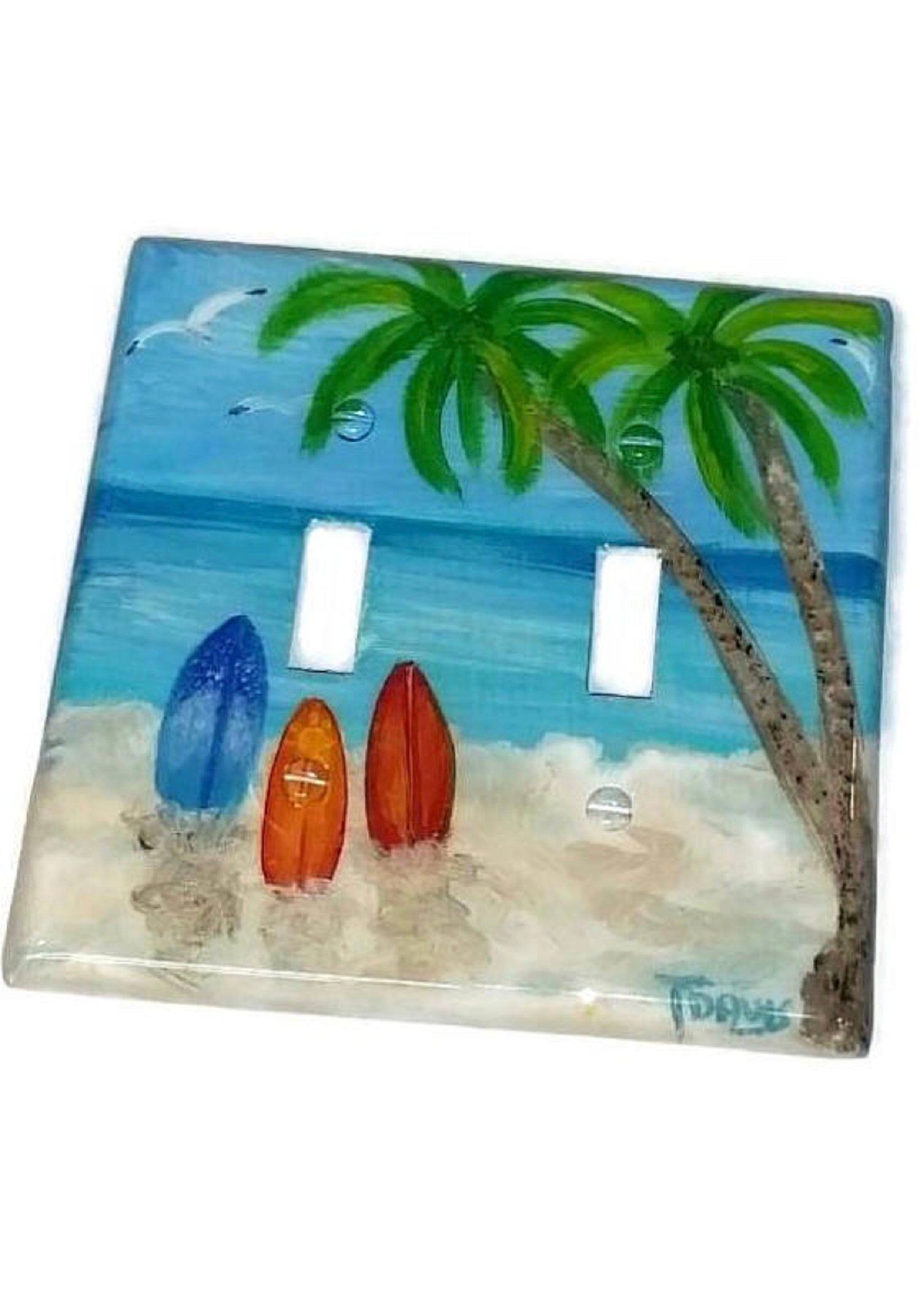 Surfboard Tropical Beach Double Light Switch Plate Cover Etsy