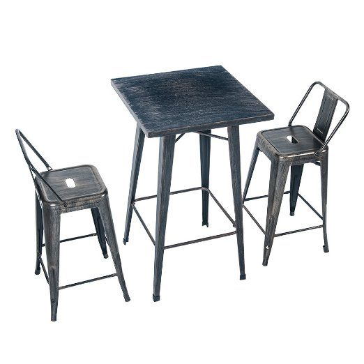 Excellent Merax Rectangular Distressed Metal Bar Table Pub Table 39 Machost Co Dining Chair Design Ideas Machostcouk