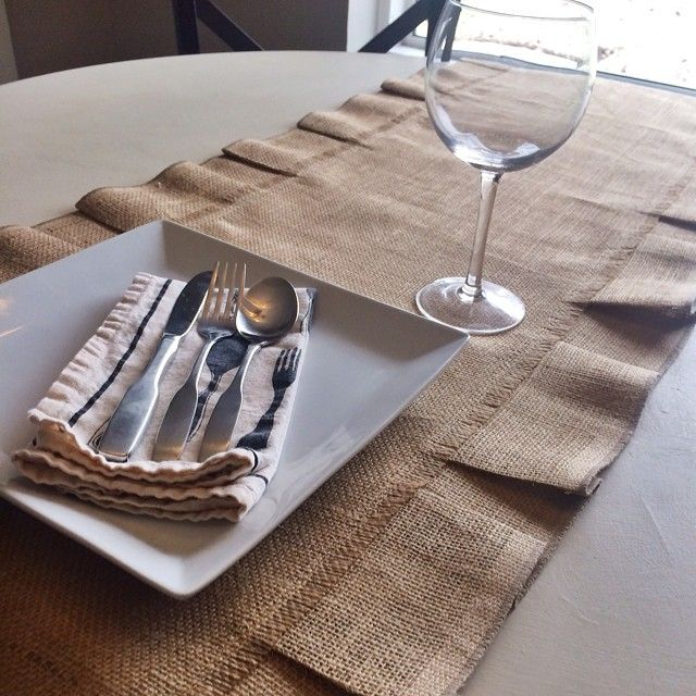 LOVE, burlap ♥ Classic burlap table runner. Order yours today by visiting our website or Etsy store! ♥ www.loveburlap.com #loveburlaphome #loveburlapproducts
