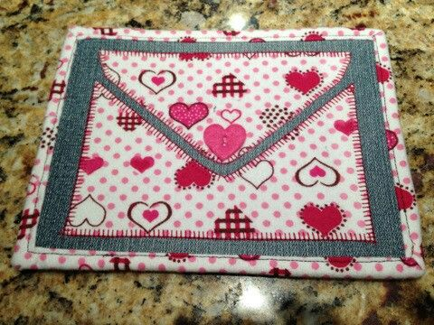 Homemade fabric post cards for Valentine's