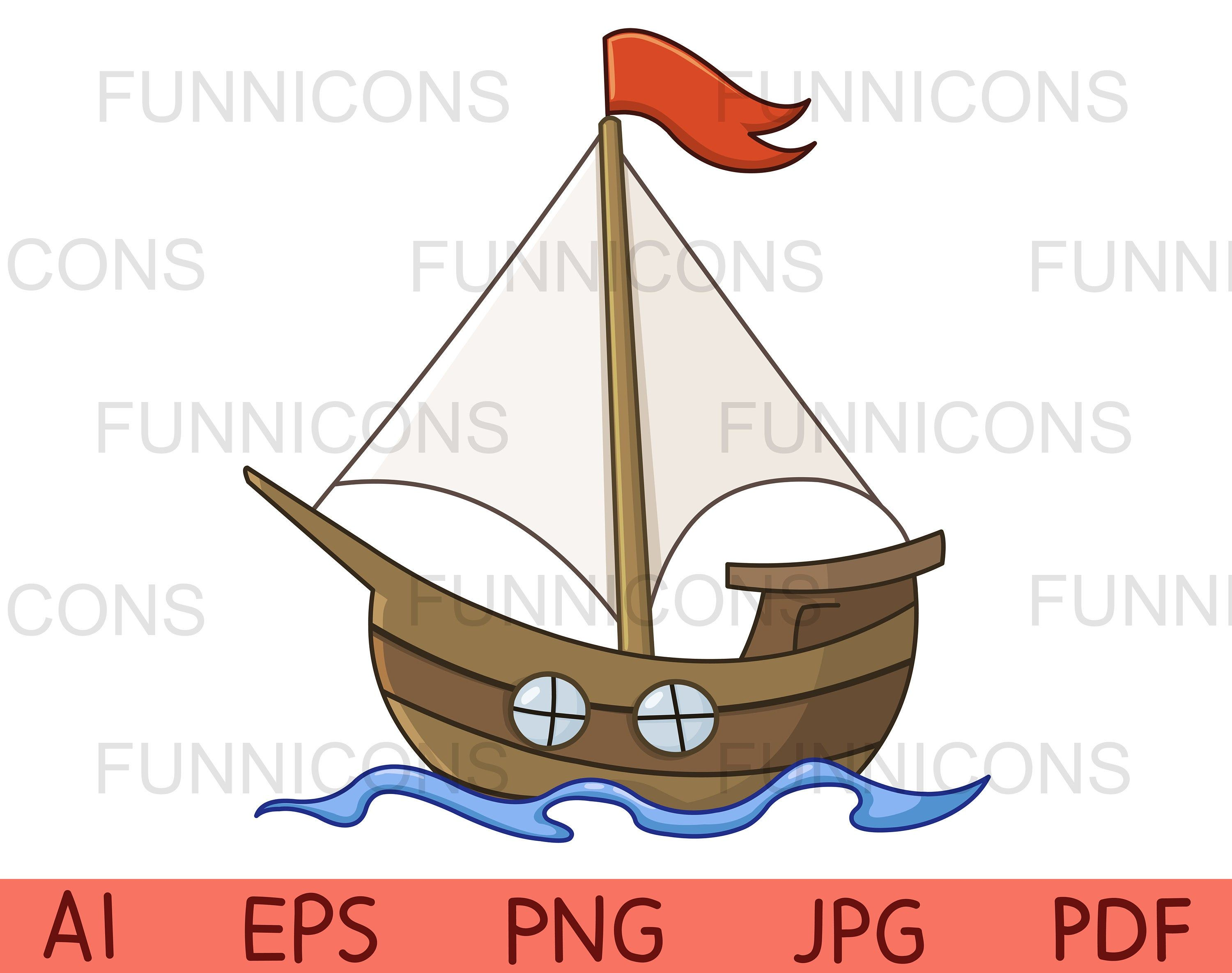 Clipart Of A Cartoon Sailboat With A Red Flag Vector Illustration Ai Eps Png Pdf And Jpg Files Included Digital Files Instant Download A Cartoon Clip Art Vector Illustration
