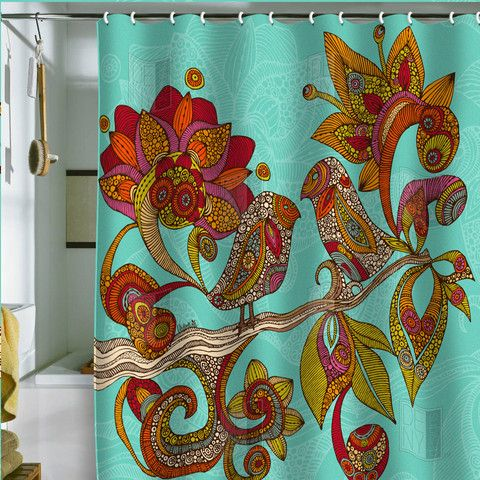 I love Valentina Ramos designs. Have an iphone case with a VR peacock design! So why not fun shower curtains too?