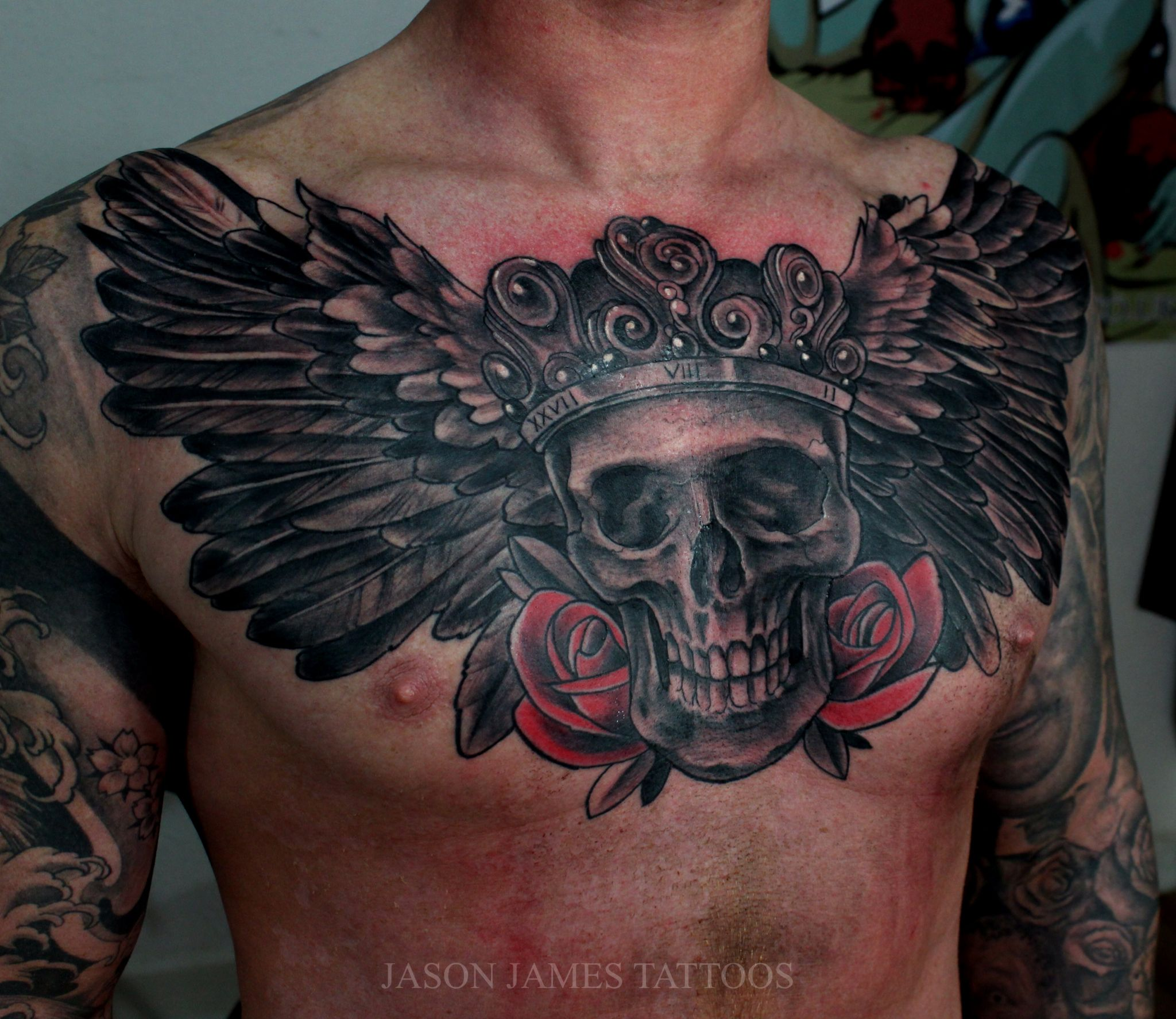 Skull Wings And Roses Tattoo By Jason James Badass Tattoos For Guys Chest Tattoo Men Cool Tattoos