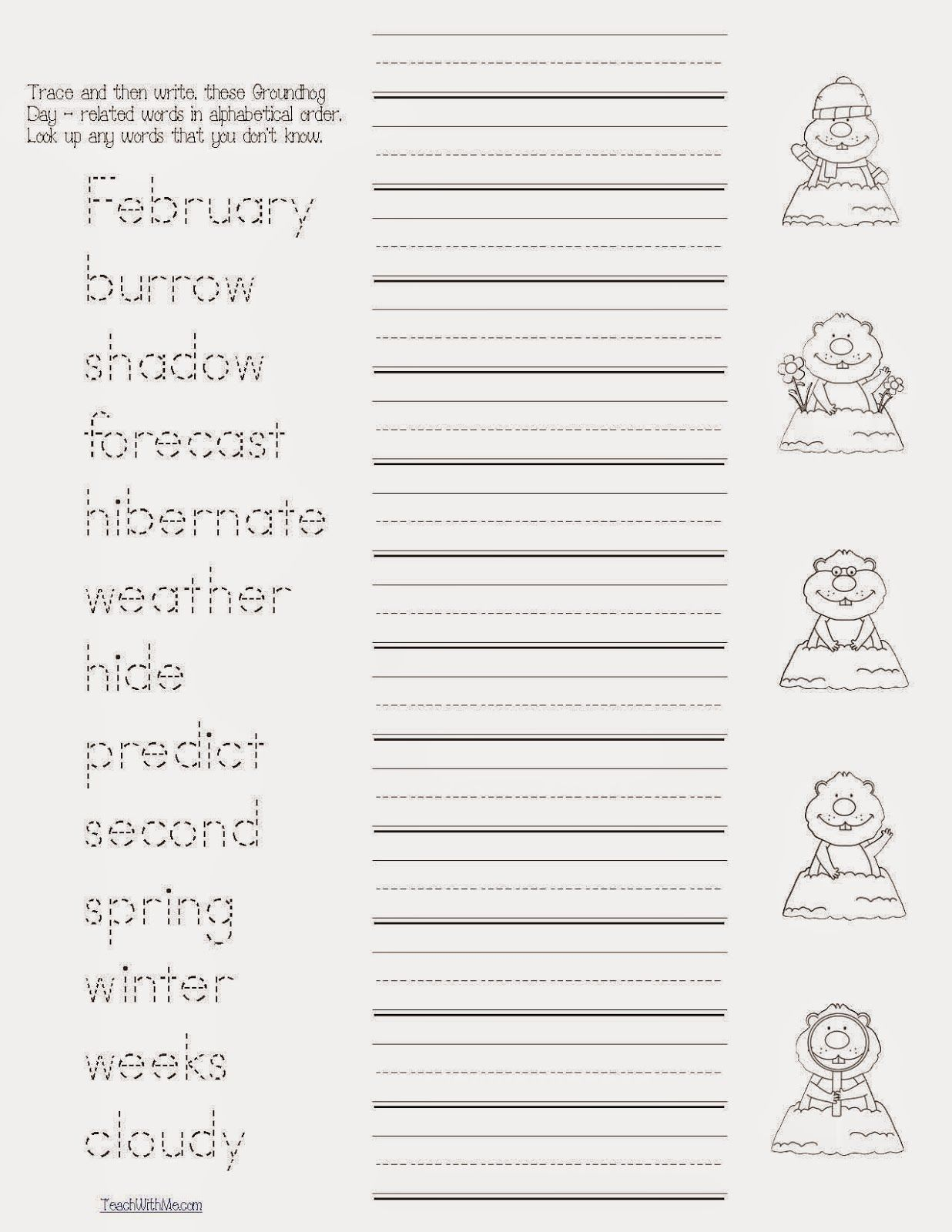 Groundhog Day Word Work Packet