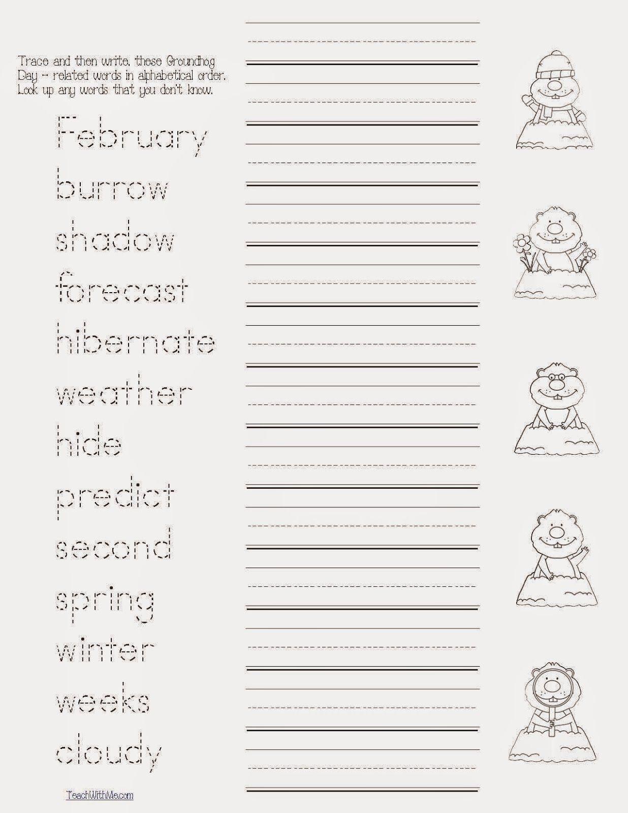 Groundhog Day Word Work Packet