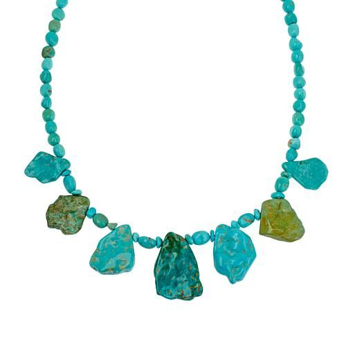 """Mine Finds by Jay King Jay King Angel Peak Turquoise 18"""" Sterling Silver Necklace"""