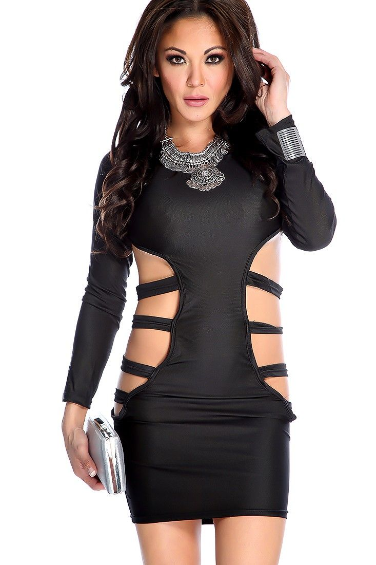 Sexy black long sleeve side cutout party dress