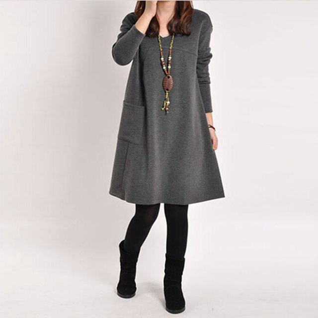 bc26a4772fa Pocket Long Sleeve O-Neck Solid Casual Dress in 2019
