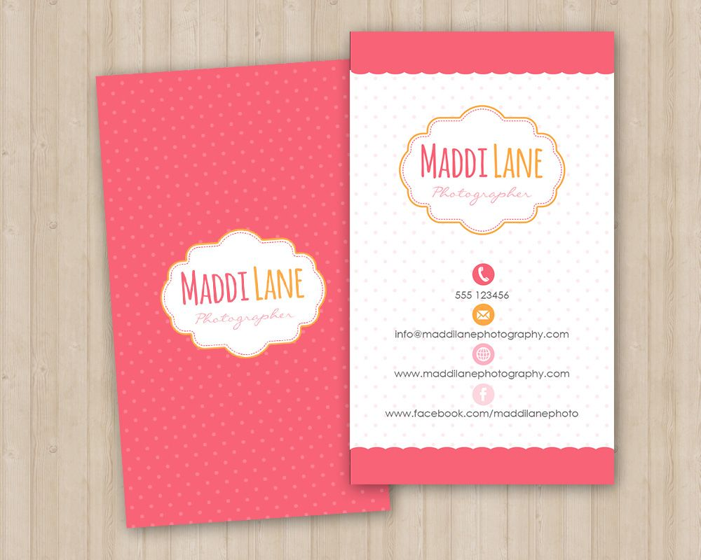 A girly vertical business card template; featuring tiny polkadot ...