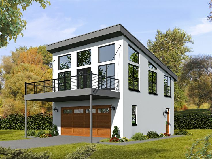 062g 0081 2 car garage apartment plan with modern style for Small house plans with 2 car garage