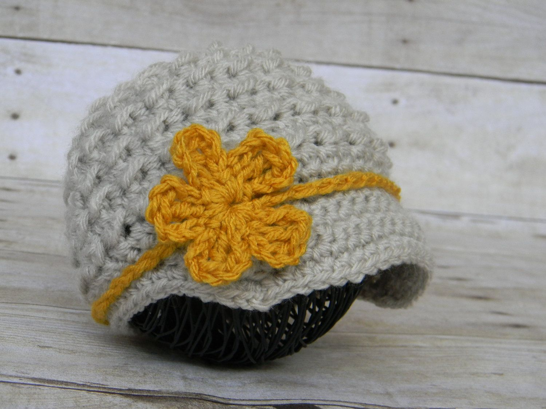 Knit Crochet Baby Newsboy Hat--Gender Neutral Hat--Photography Prop--The Flowerband Newsboy with Detachable Headband. $24.00, via Etsy.