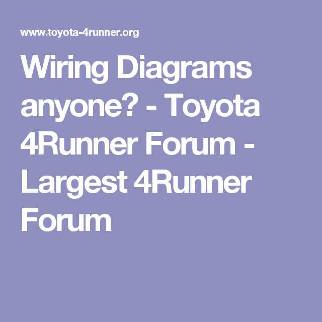 Wiring Diagrams Anyone Toyota 4runner Largest. Wiring Diagrams Anyone Toyota 4runner Largest. Toyota. 4runner Intake 3 4toyota Diagram At Scoala.co