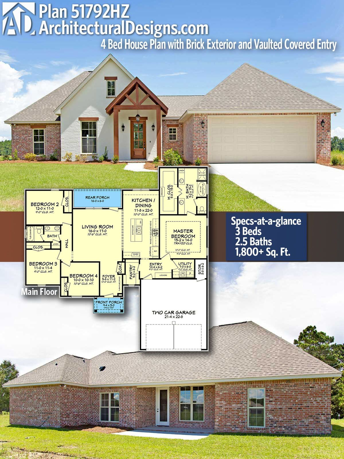 Plan 51792hz 4 Bed House Plan With Brick Exterior And Vaulted Covered Entry Craftsman House Plans House Plans Acadian House Plans