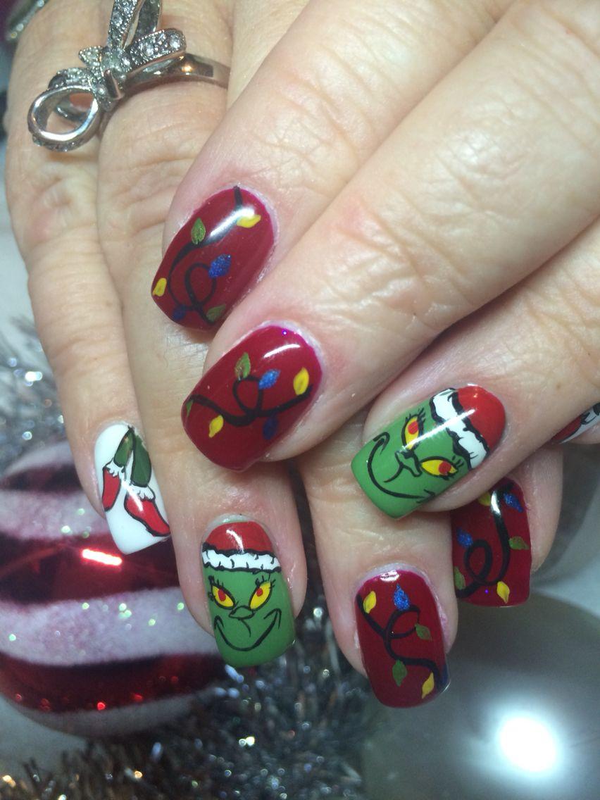Grinch nail art | Christmas | Pinterest | Nagelschere